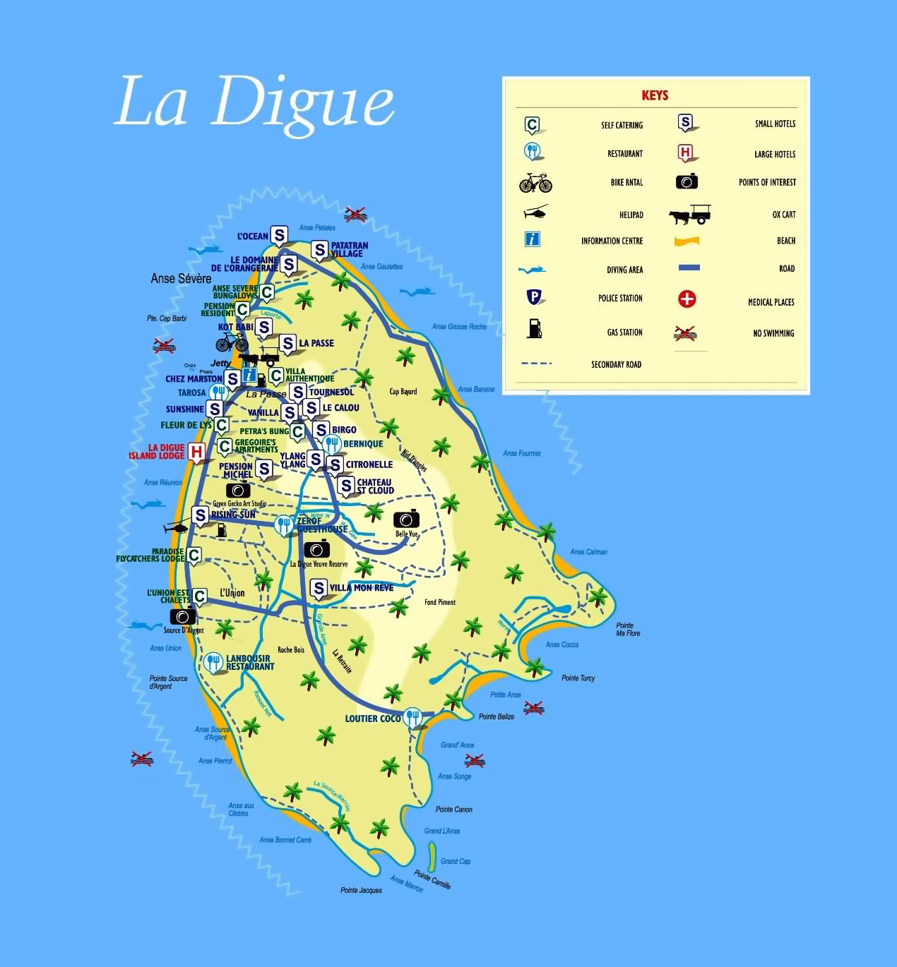 Large Tourist Map Of La Digue Island Seychelles With All Marks - Seychelles map world