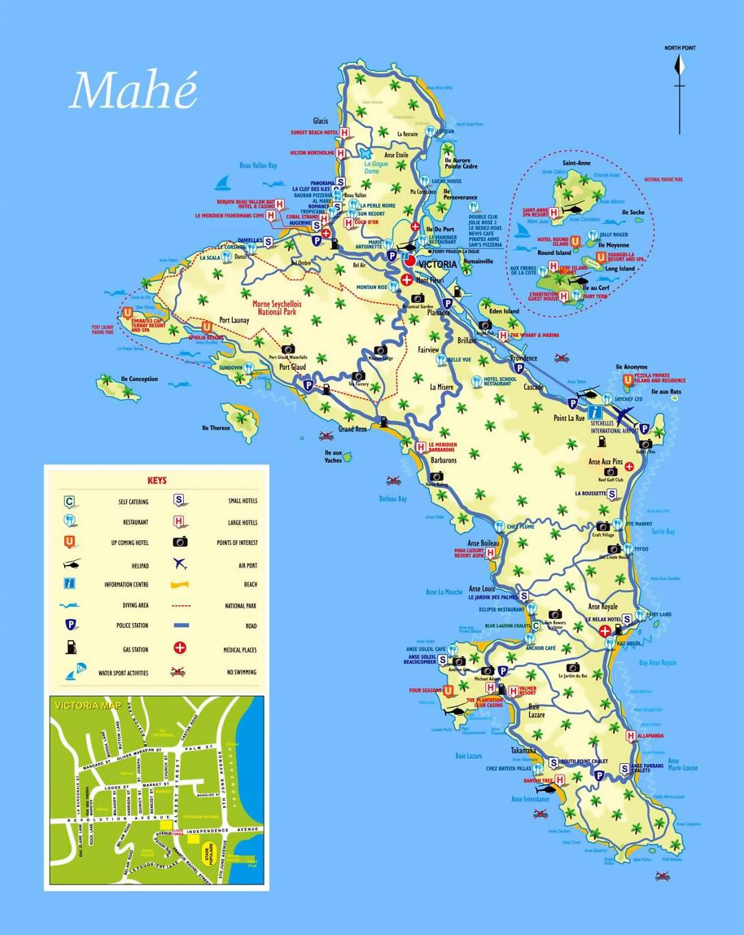 Large tourist map of Mahe Island (Seychelles) with all marks