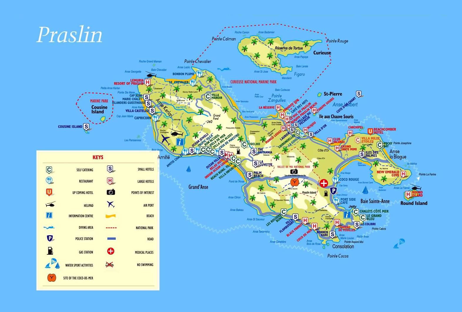 Praslin Island Seychelles World Map Large tourist map of Praslin Island (Seychelles) with all marks
