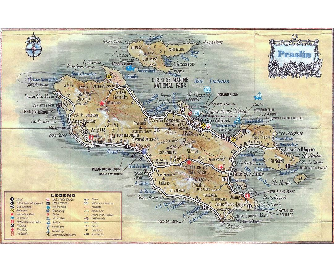 Large travel map of Praslin Island (Seychelles) with other marks
