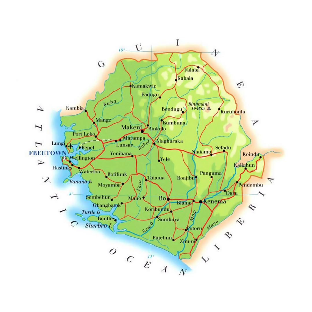 Detailed elevation map of Sierra Leone with roads, railroads, cities and airports