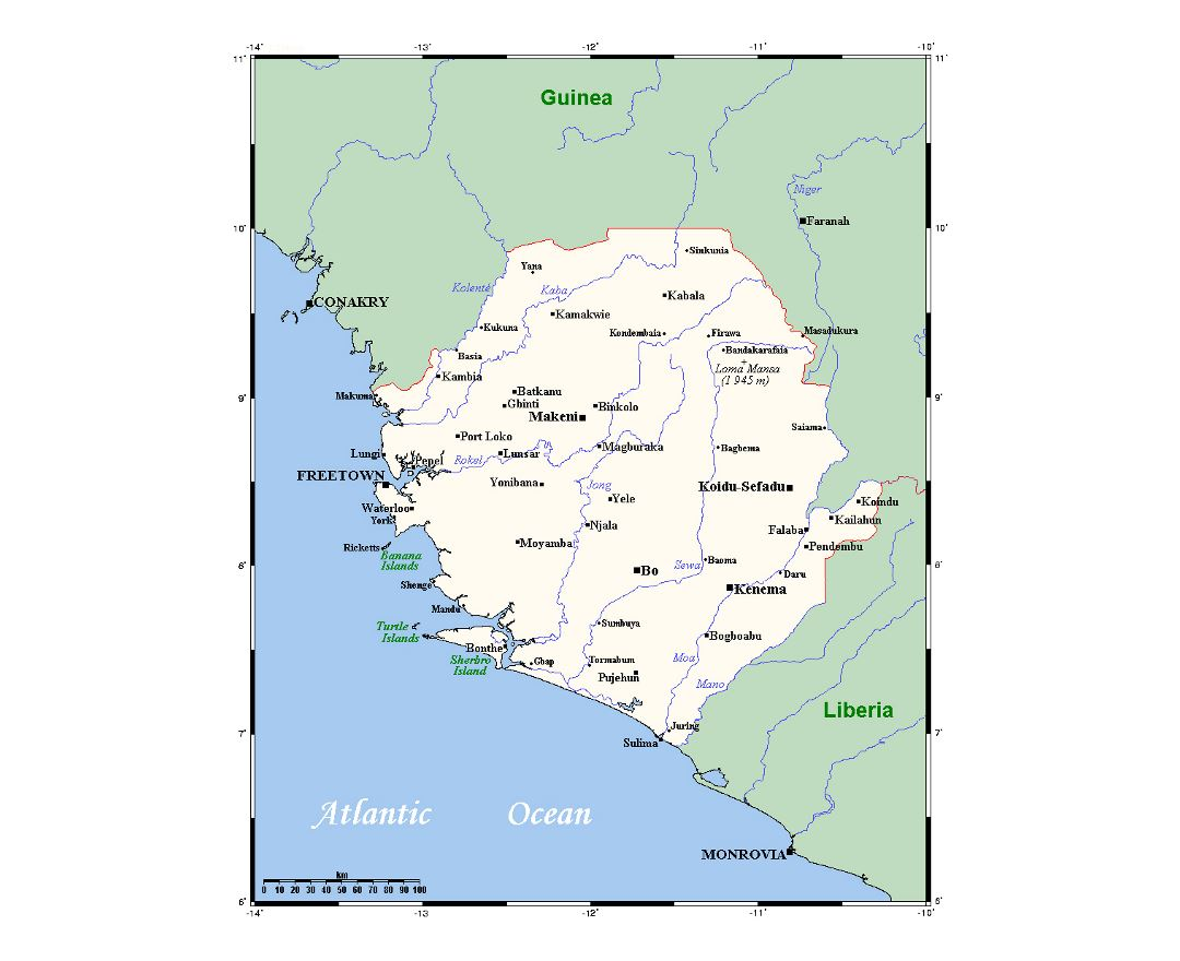 Maps Of Sierra Leone Detailed Map Of Sierra Leone In English - Sierra leone map