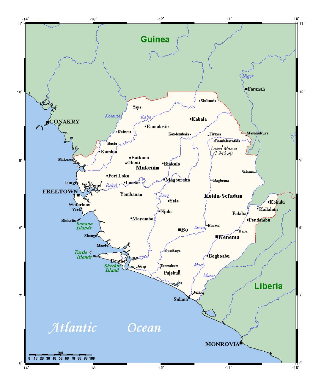 Detailed map of Sierra Leone with all cities