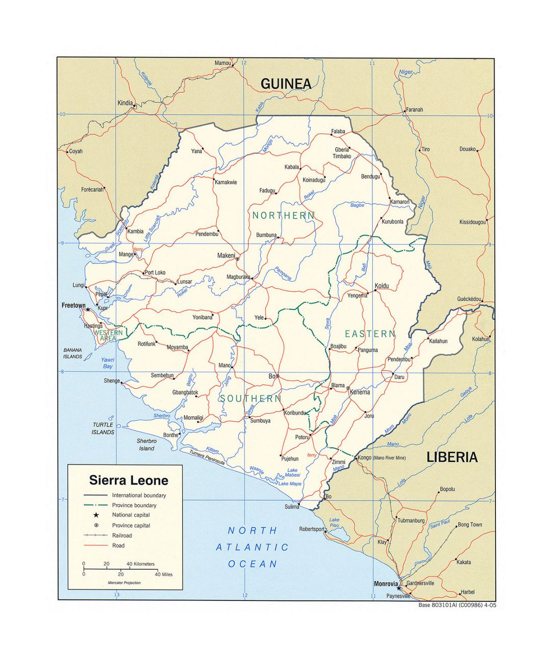 Detailed political and administrative map of Sierra Leone with roads, railroads and major cities - 2005