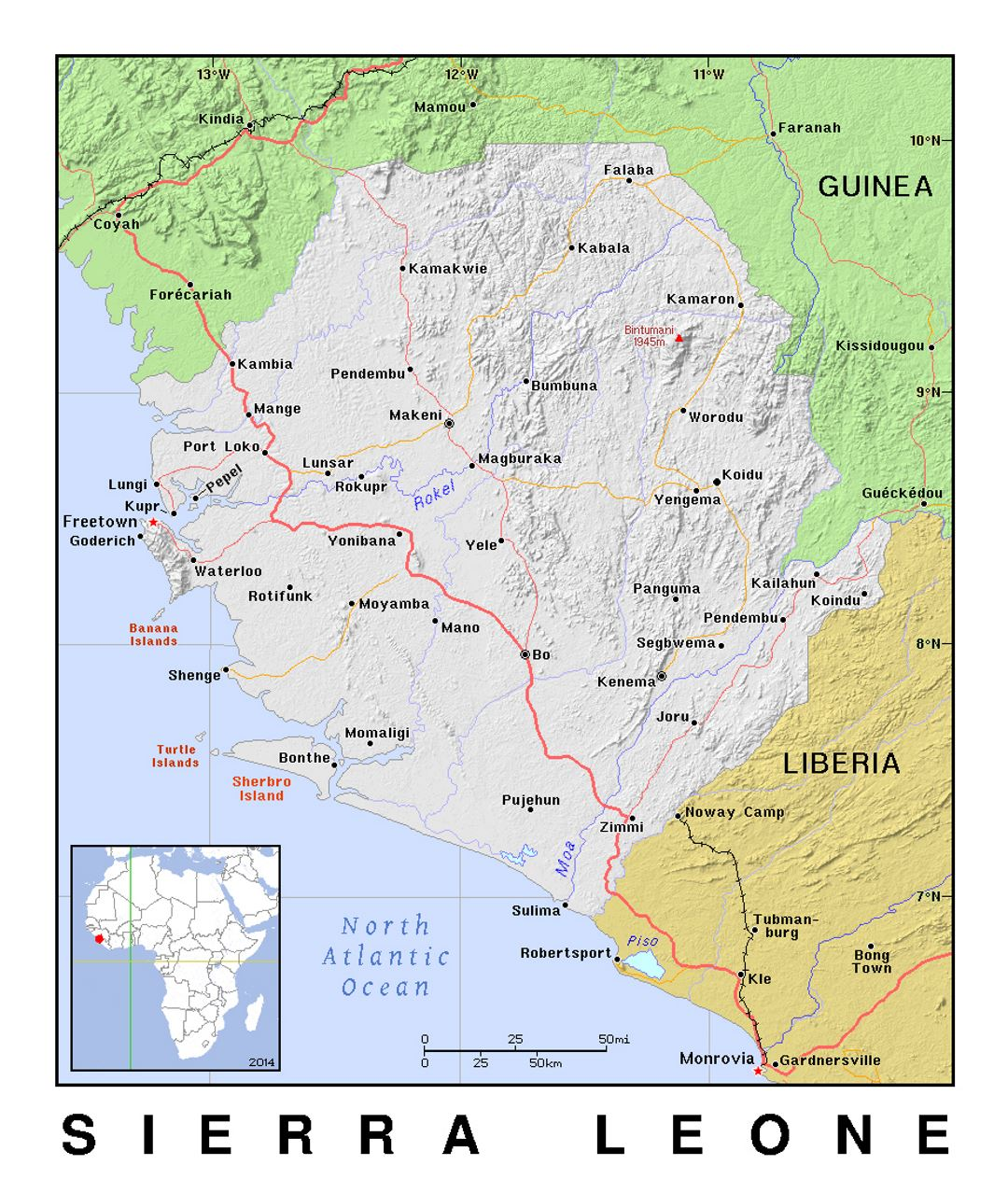 Detailed political map of Sierra Leone with relief