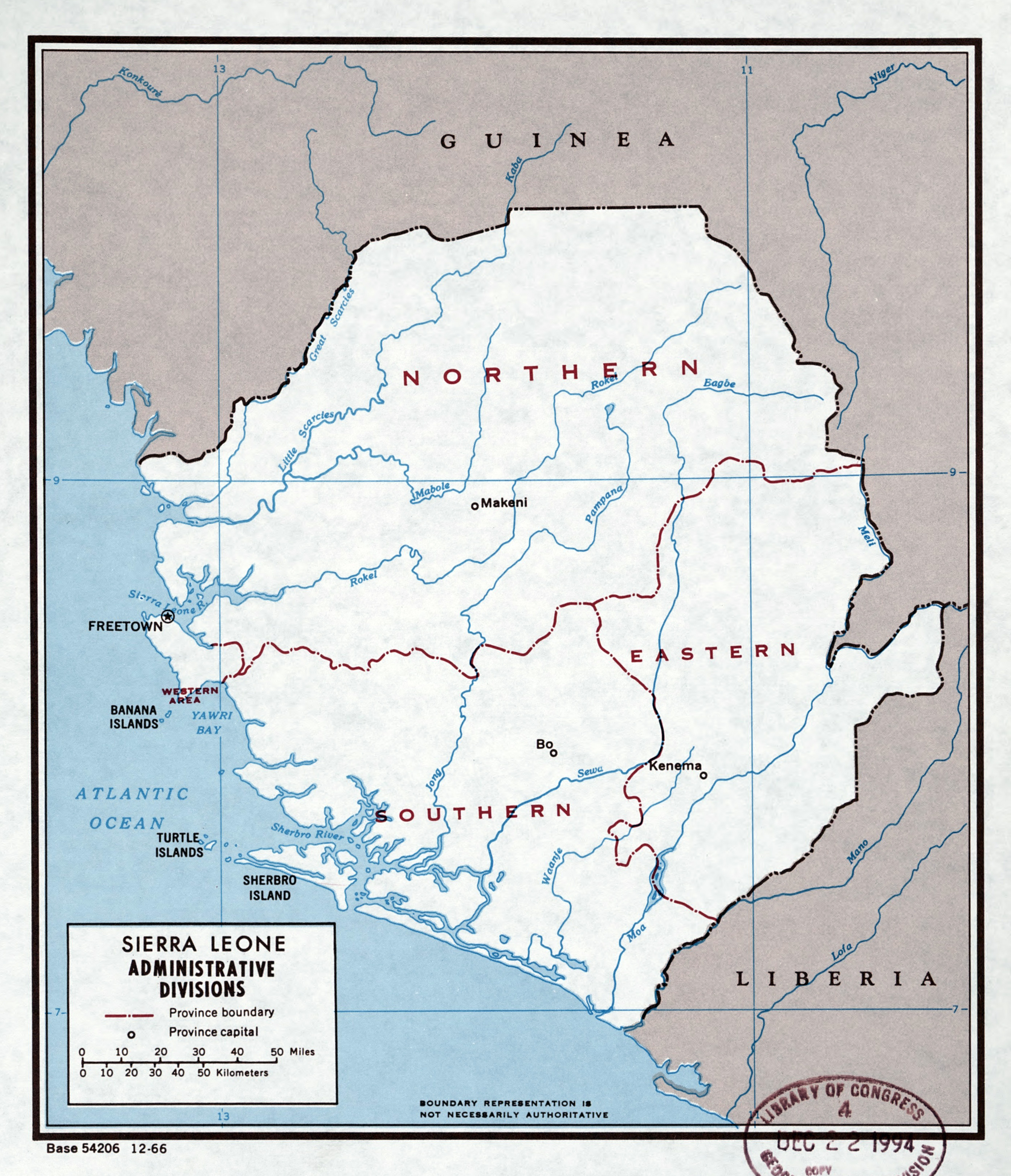 Large detailed administrative divisions map of Sierra Leone 1966