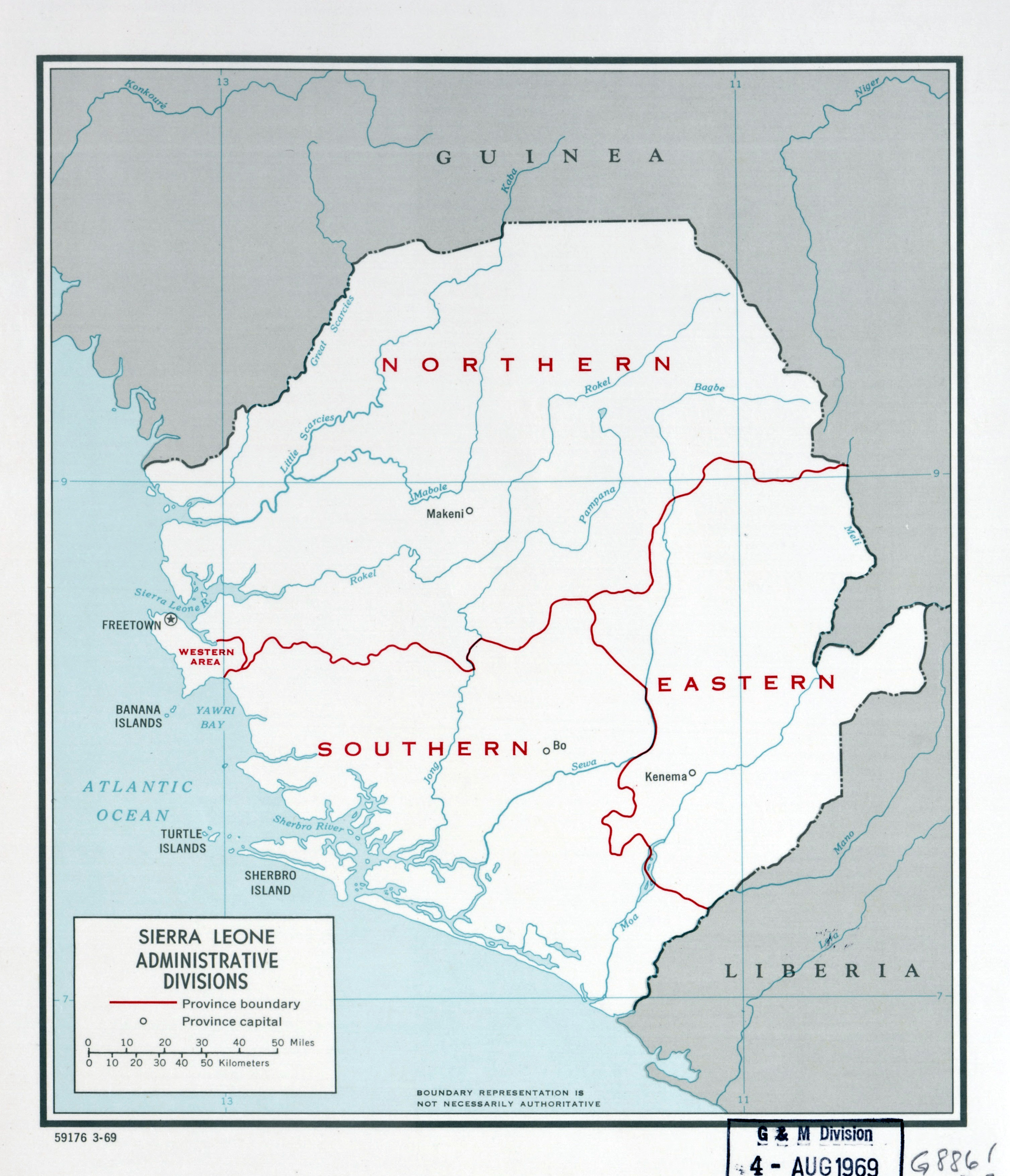 Large detailed administrative divisions map of Sierra Leone 1969