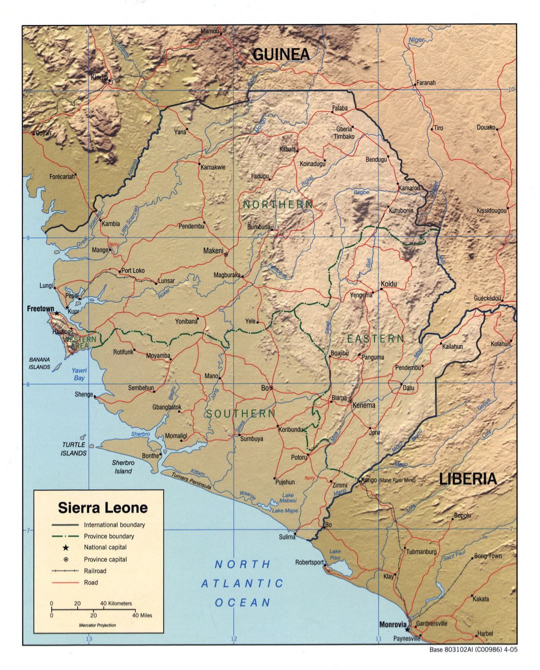 Large detailed political and administrative map of Sierra Leone with relief, roads, railroads and major cities - 2005