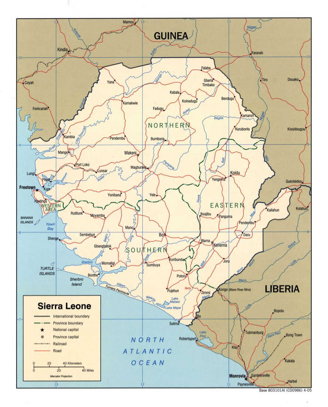 Large detailed political and administrative map of Sierra Leone with roads, railroads and major cities - 2005