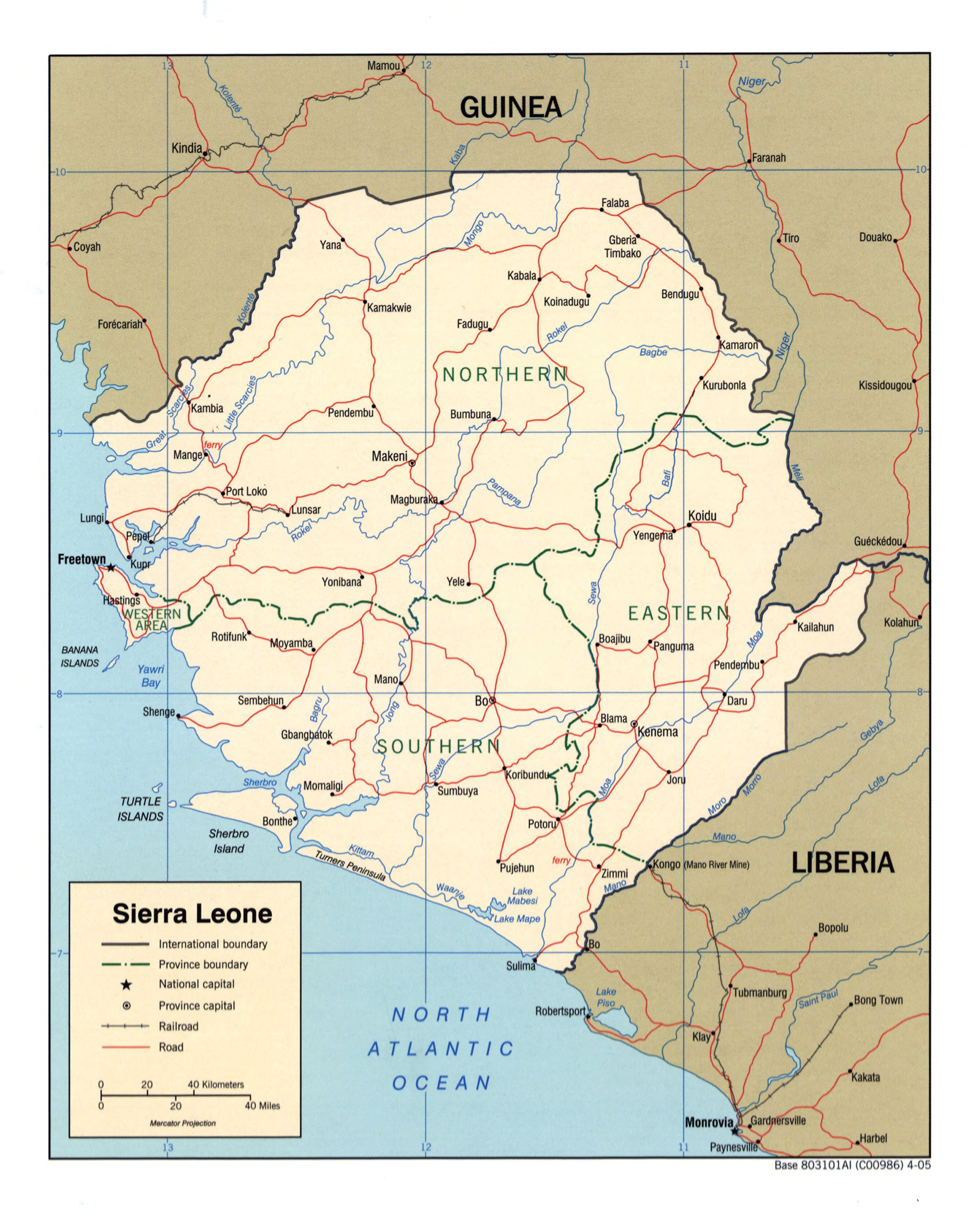 Large detailed political and administrative map of Sierra Leone with
