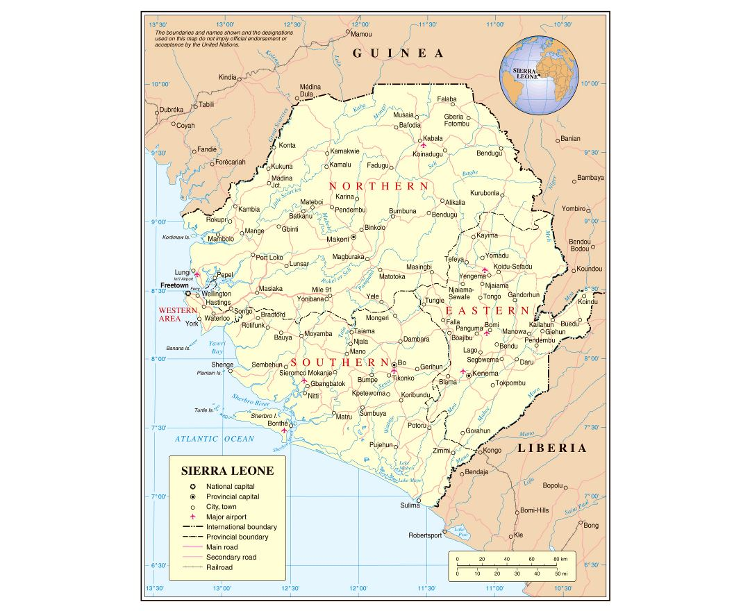 Maps of Sierra Leone Detailed map of Sierra Leone in English