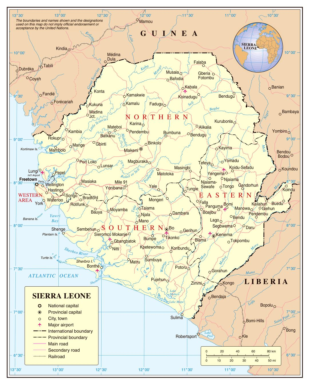 Large detailed political and administrative map of Sierra Leone with roads, railroads, cities and airports