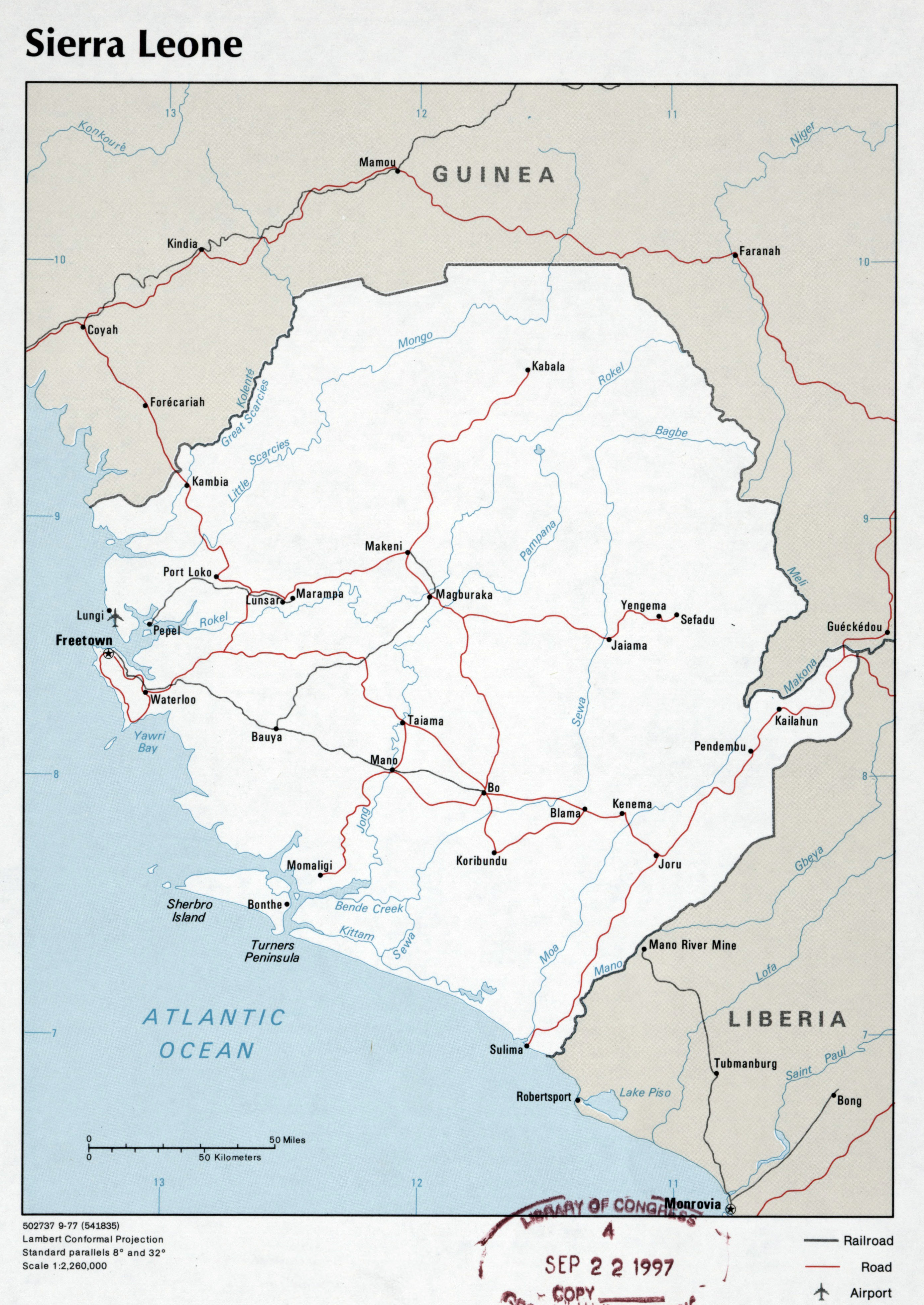 Large detailed political map of Sierra Leone with roads railroads