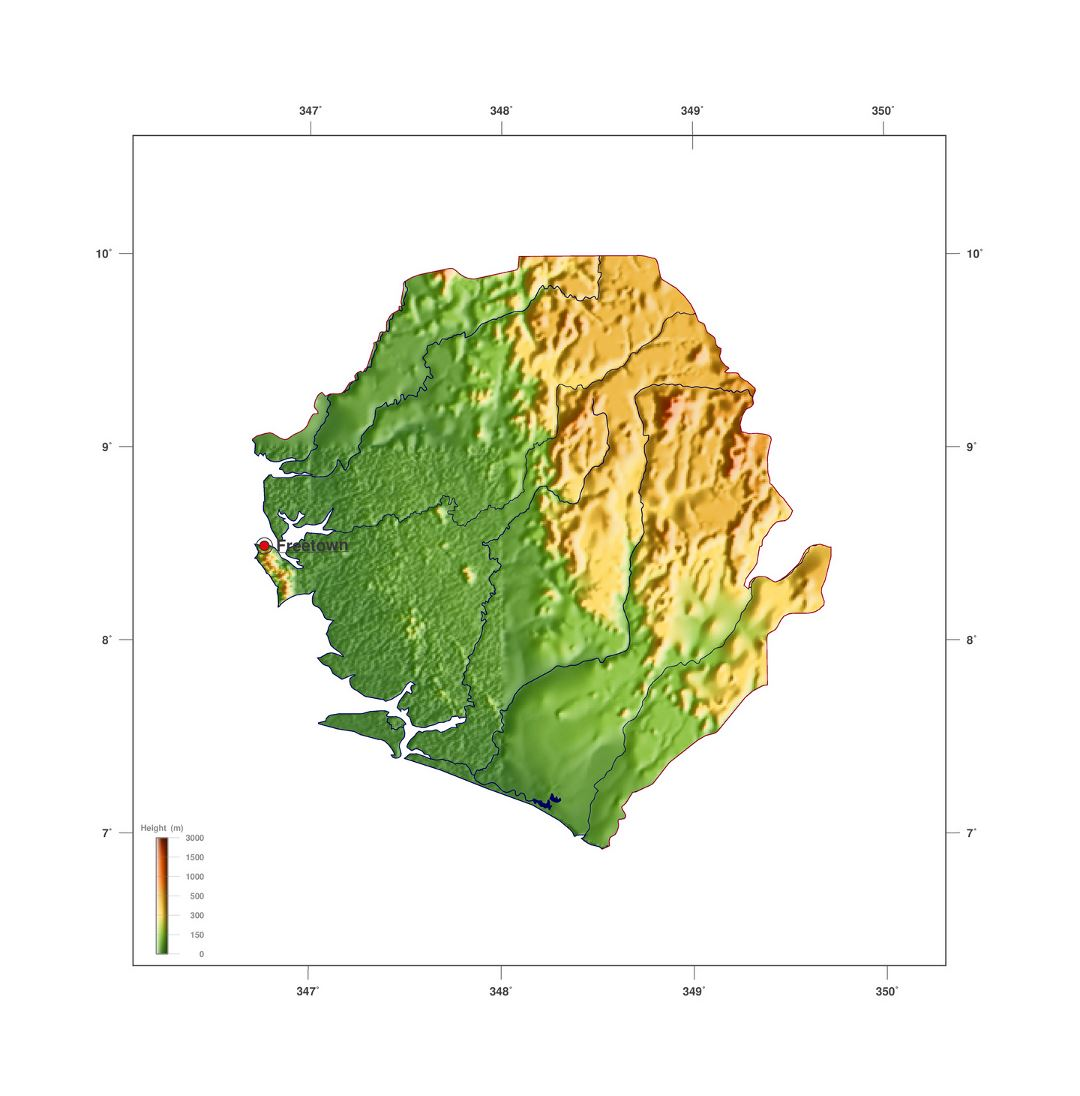Large elevation map of Sierra Leone