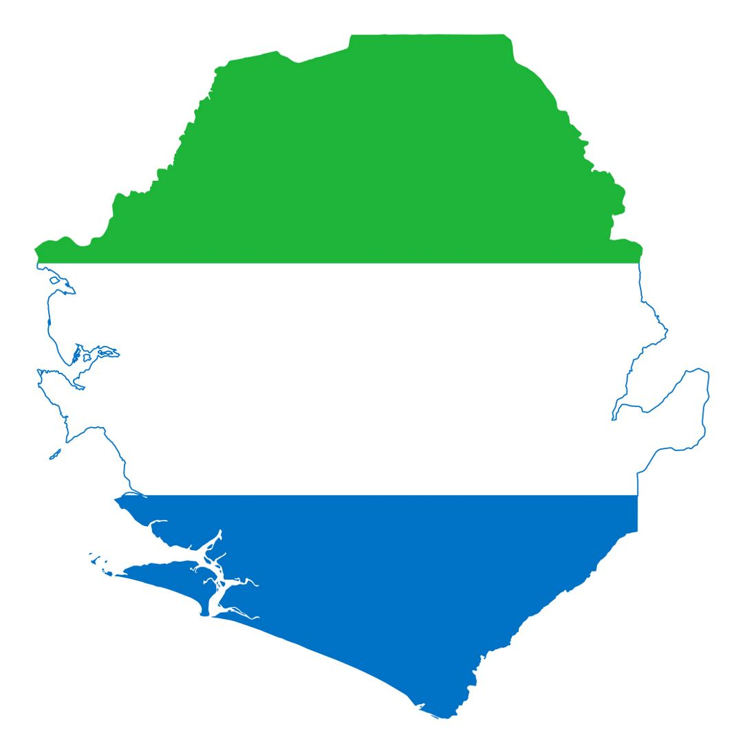 Large flag map of Sierra Leone