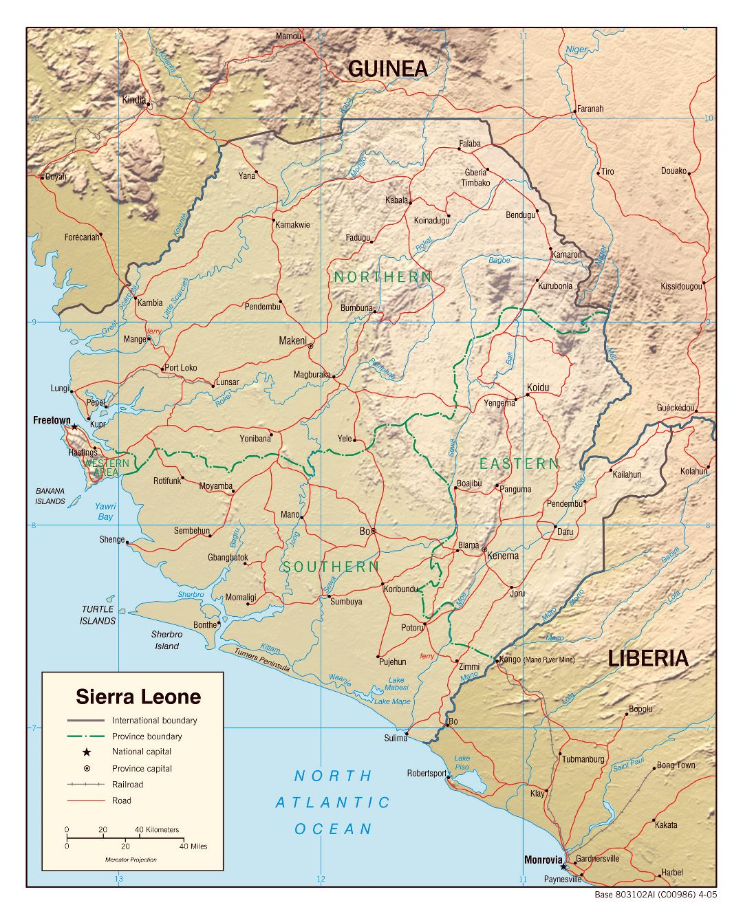 Large political and administrative map of Sierra Leone with relief, roads, railroads and major cities - 2005