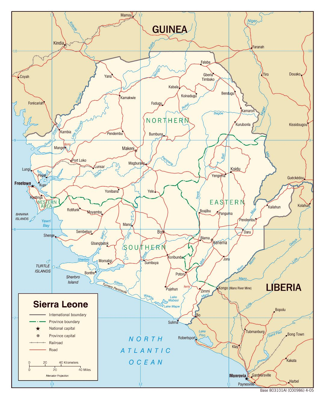 Large political and administrative map of Sierra Leone with roads, railroads and major cities - 2005