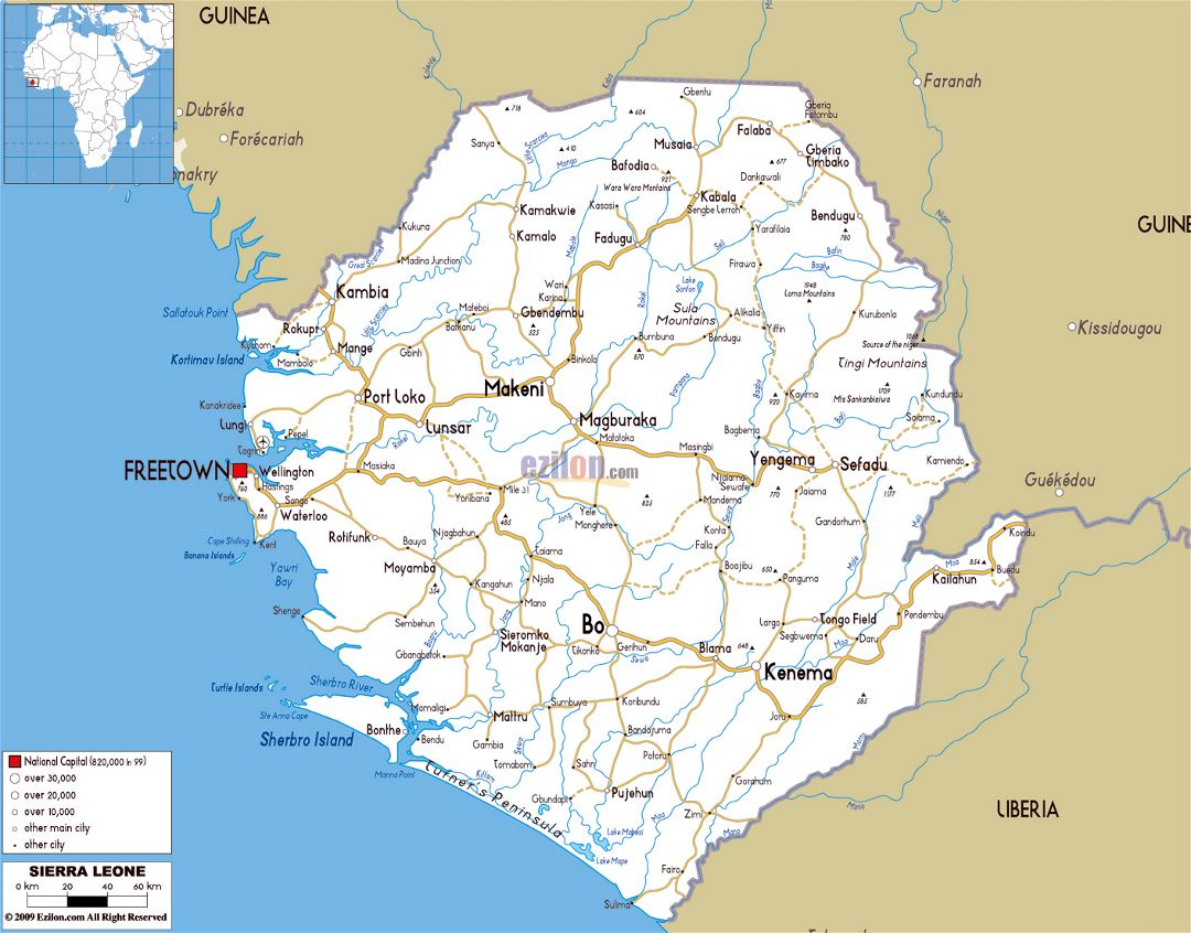 Large road map of Sierra Leone with cities and airports