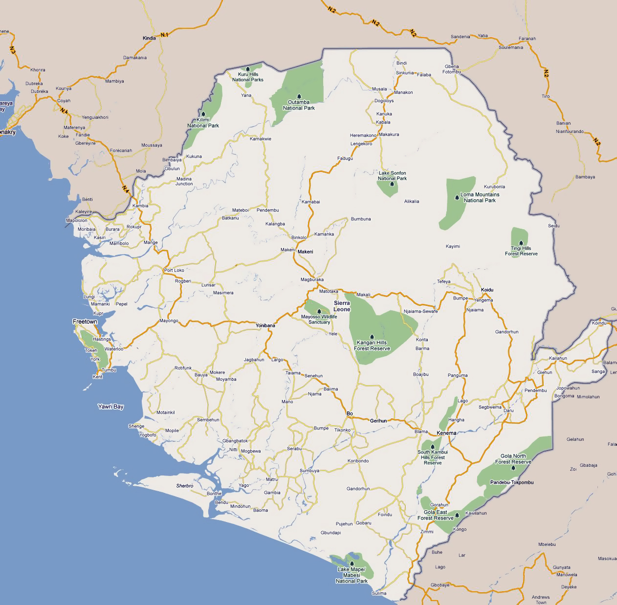 Large road map of Sierra Leone with cities and national parks
