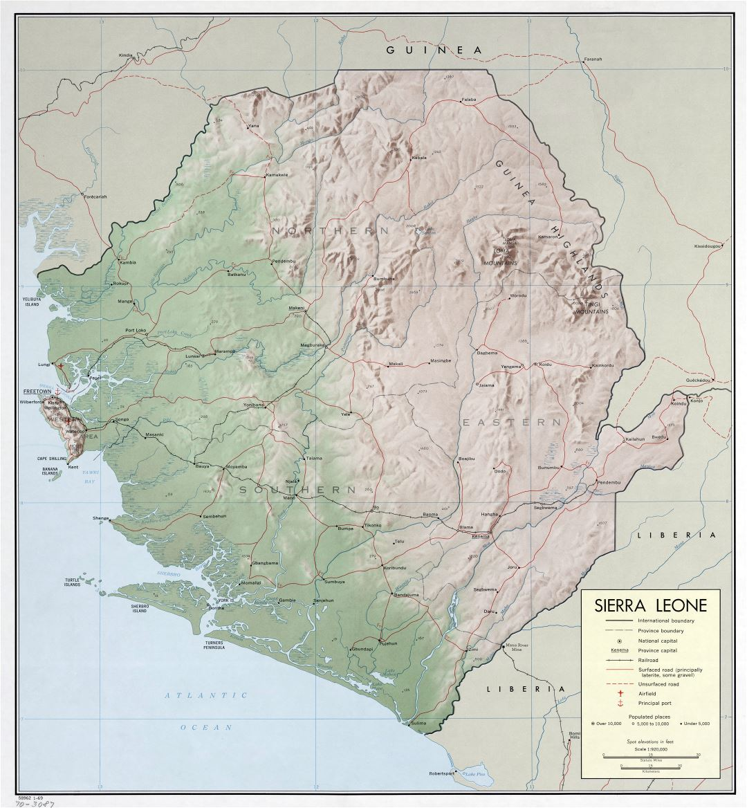 Large scale detailed political and administrative map of Sierra Leone with relief, roads, railroads, cities, ports and airports - 1969