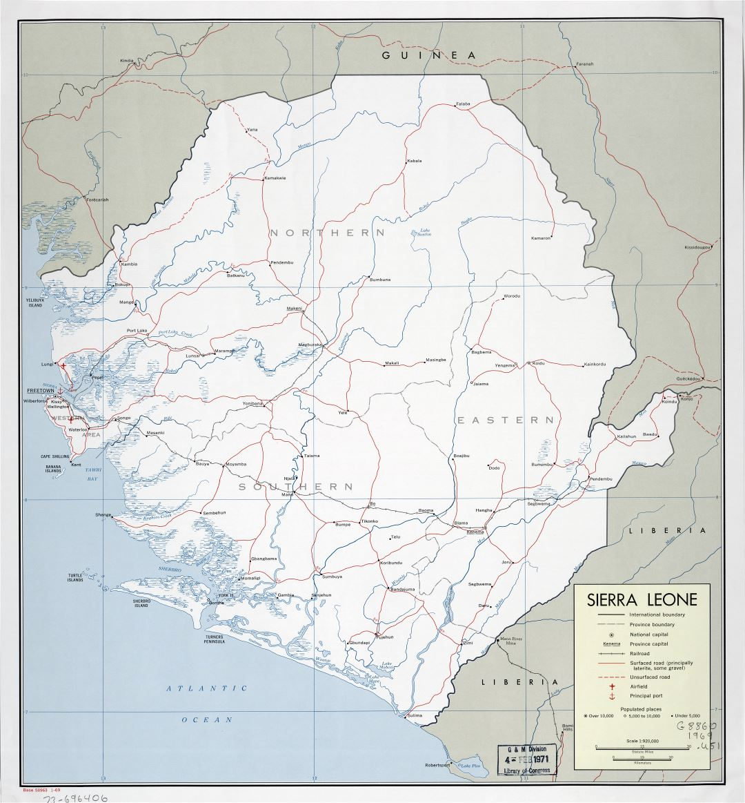 Large scale detailed political and administrative map of Sierra Leone with roads, railroads, cities, ports and airports - 1969