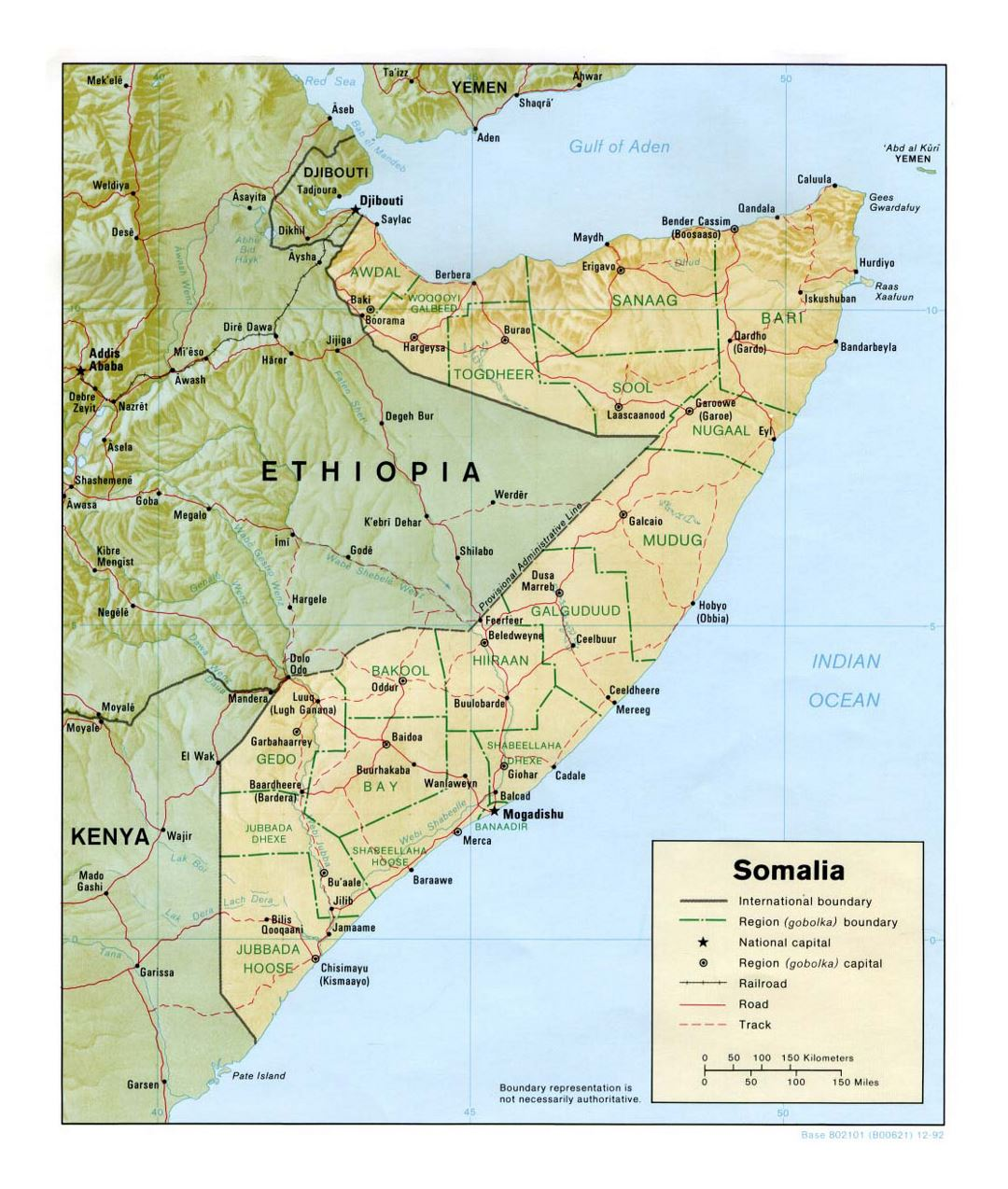 Detailed political and administrative map of Somalia with relief, roads, railroads and major cities - 1992