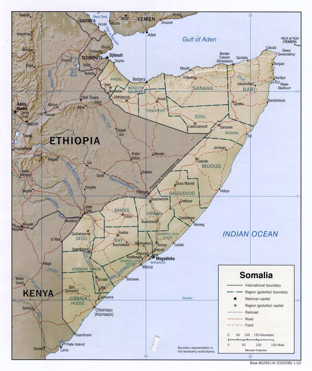 Detailed political and administrative map of Somalia with relief, roads, railroads and major cities - 2002