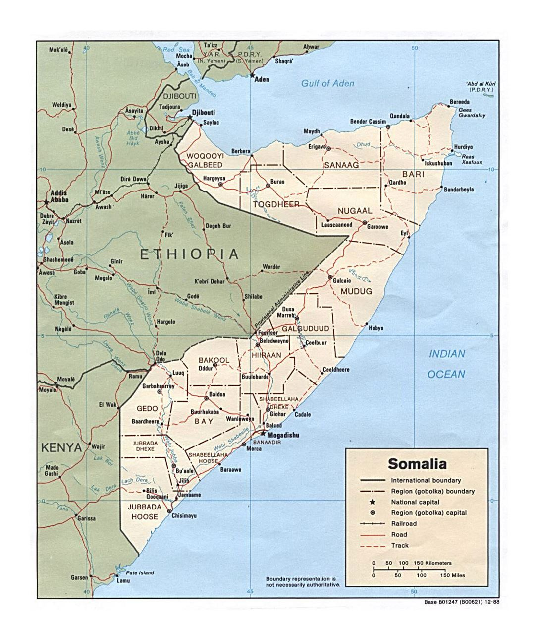 Detailed political and administrative map of Somalia with roads, railroads and cities - 1988