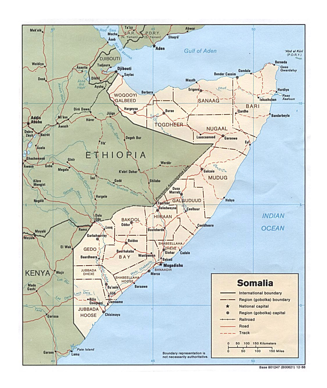 Detailed political and administrative map of Somalia with roads