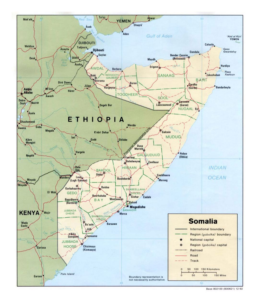 Detailed political and administrative map of Somalia with roads, railroads and major cities - 1992