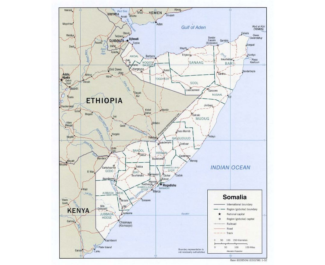 Detailed political and administrative map of Somalia with roads, railroads and major cities - 2002