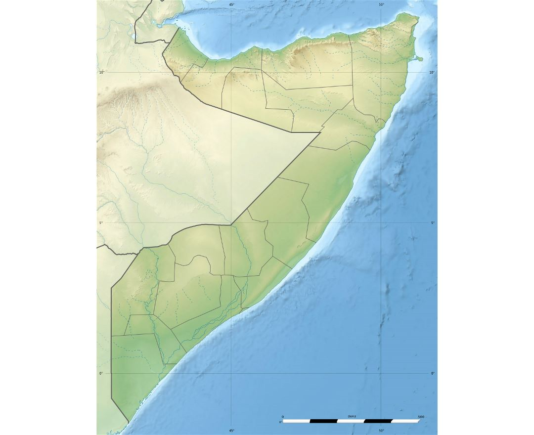 Detailed relief map of Somalia