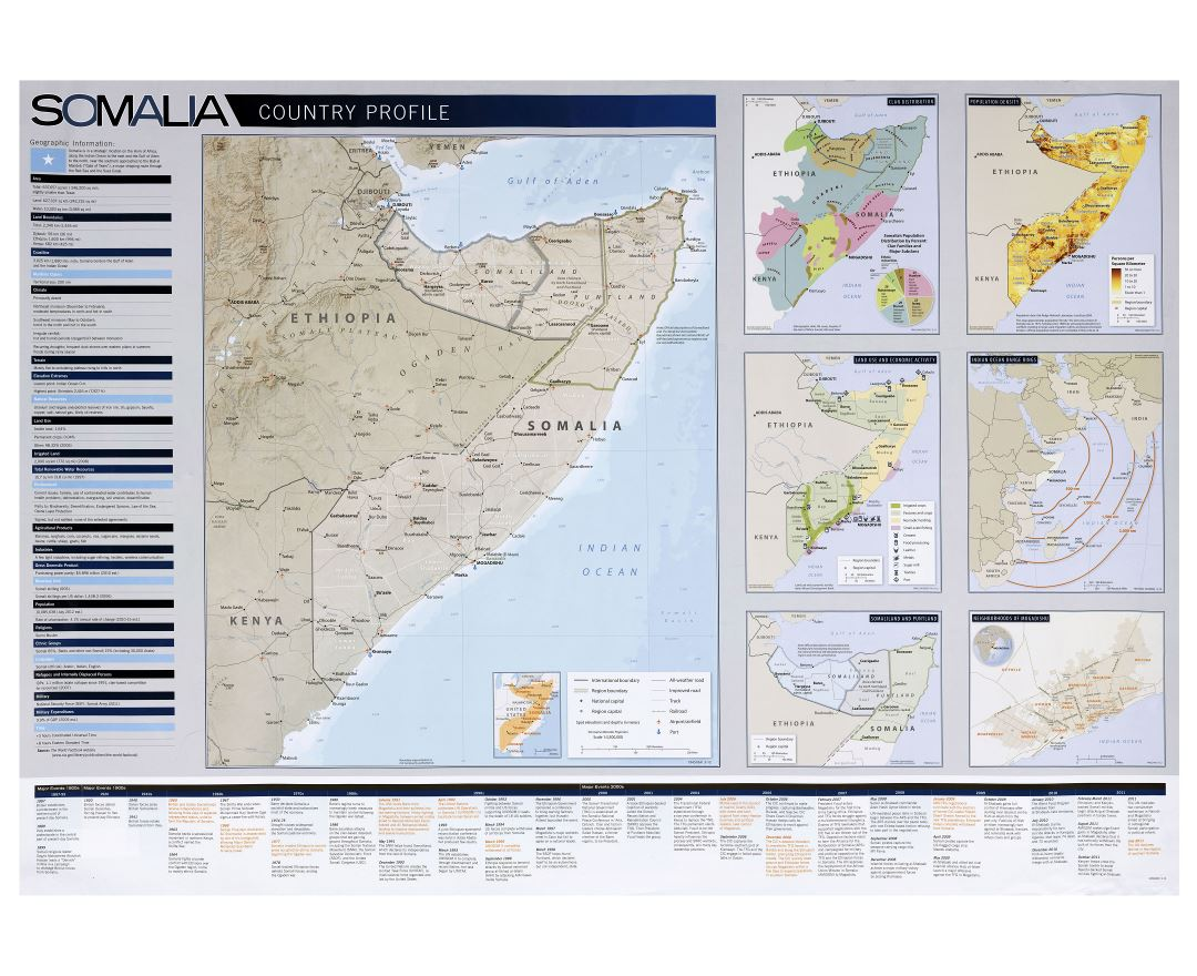 Large detailed Country Profile map of Somalia - 2012