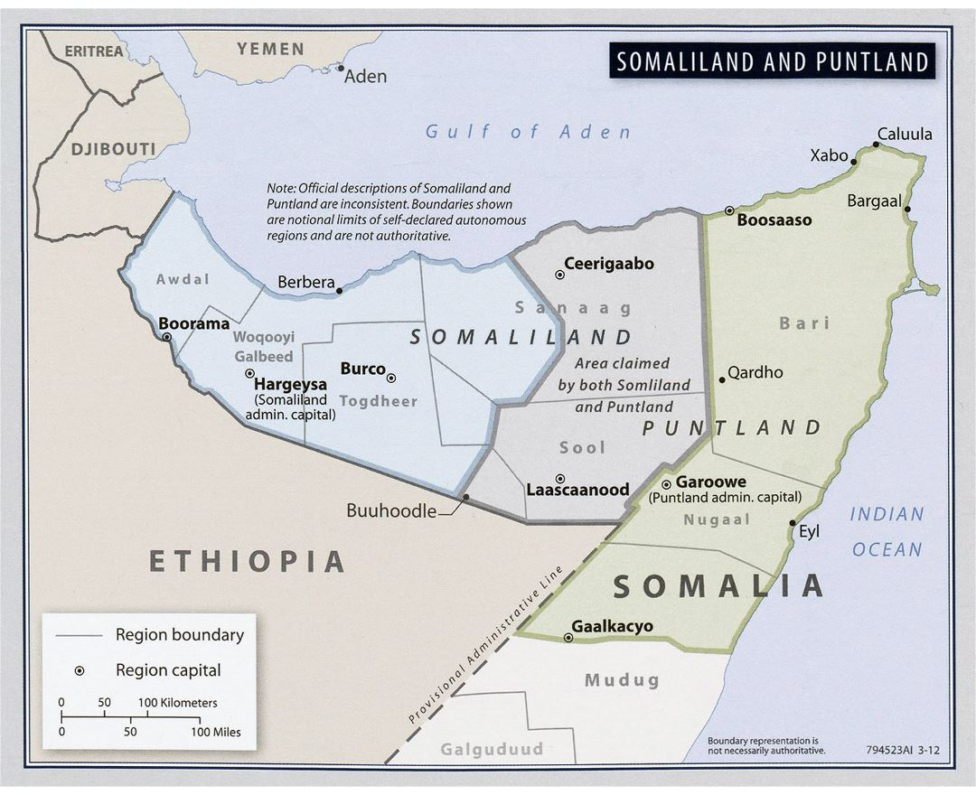 Large detailed map of Somalia Somaliland and Puntland - 2012