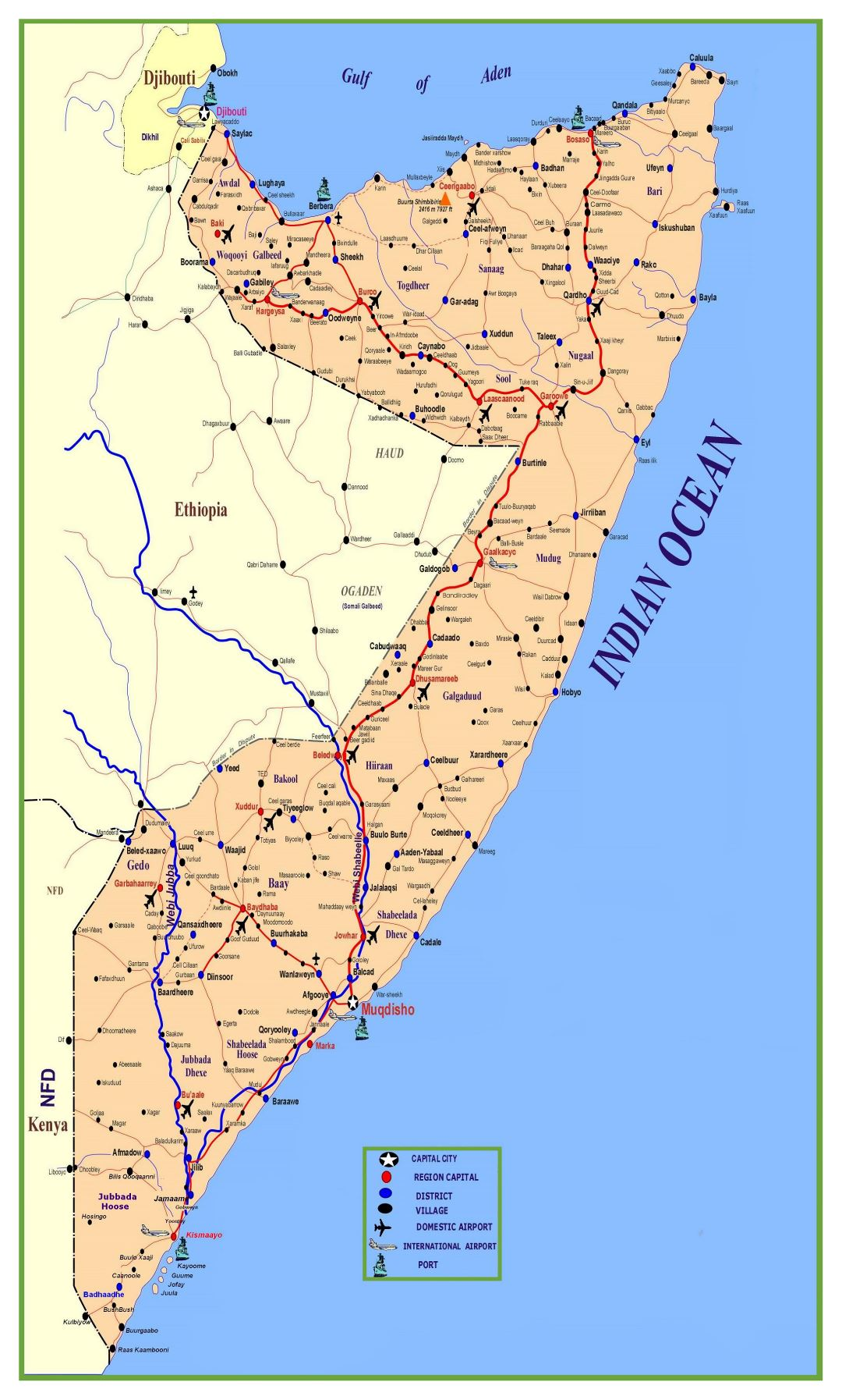 Large detailed map of Somalia with roads, cities, villages, ports and airports