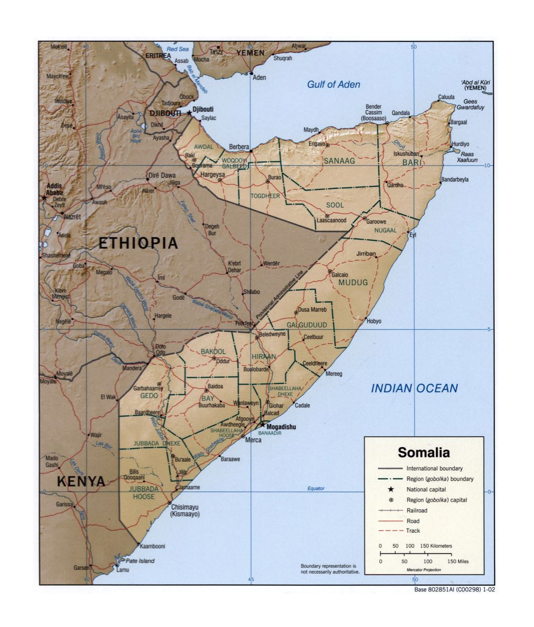 Large detailed political and administrative map of Somalia with relief, roads, railroads and cities - 2002