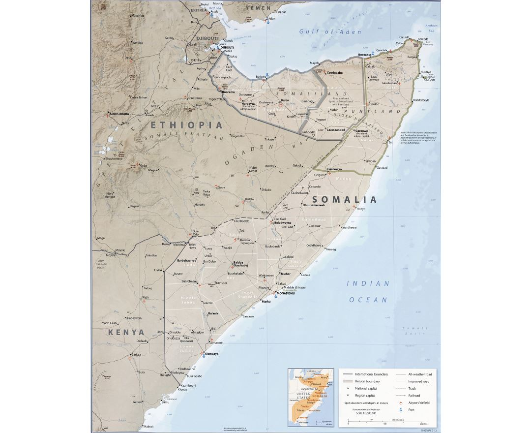 Large detailed political and administrative map of Somalia with relief, roads, railroads, cities, ports, airports and other marks - 2012