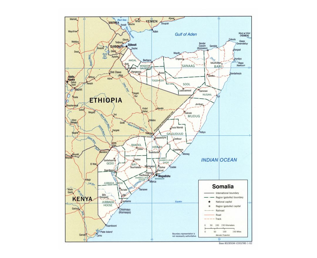 Large detailed political and administrative map of Somalia with roads, railroads and cities - 2002