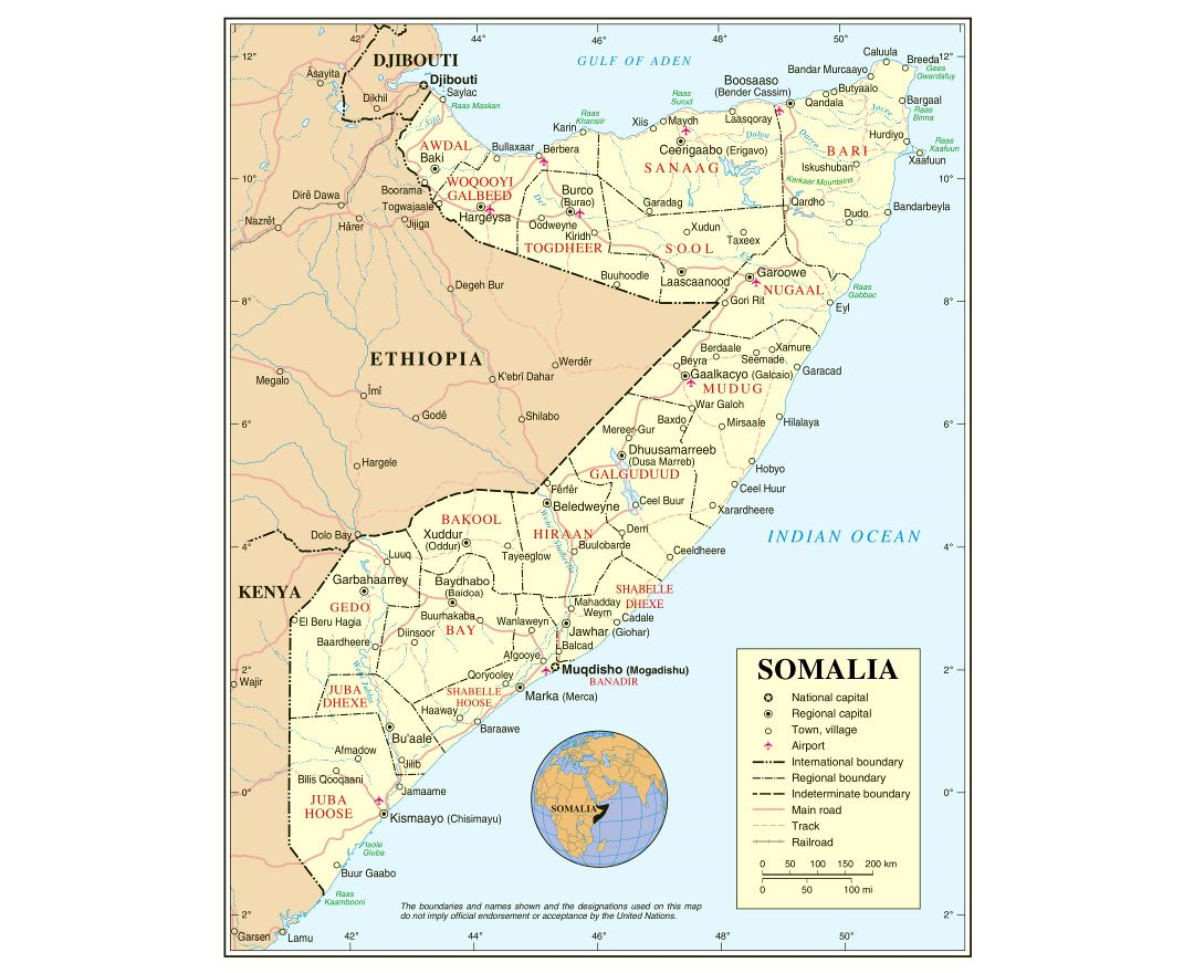 Large detailed political and administrative map of Somalia with roads, railroads, cities and airports