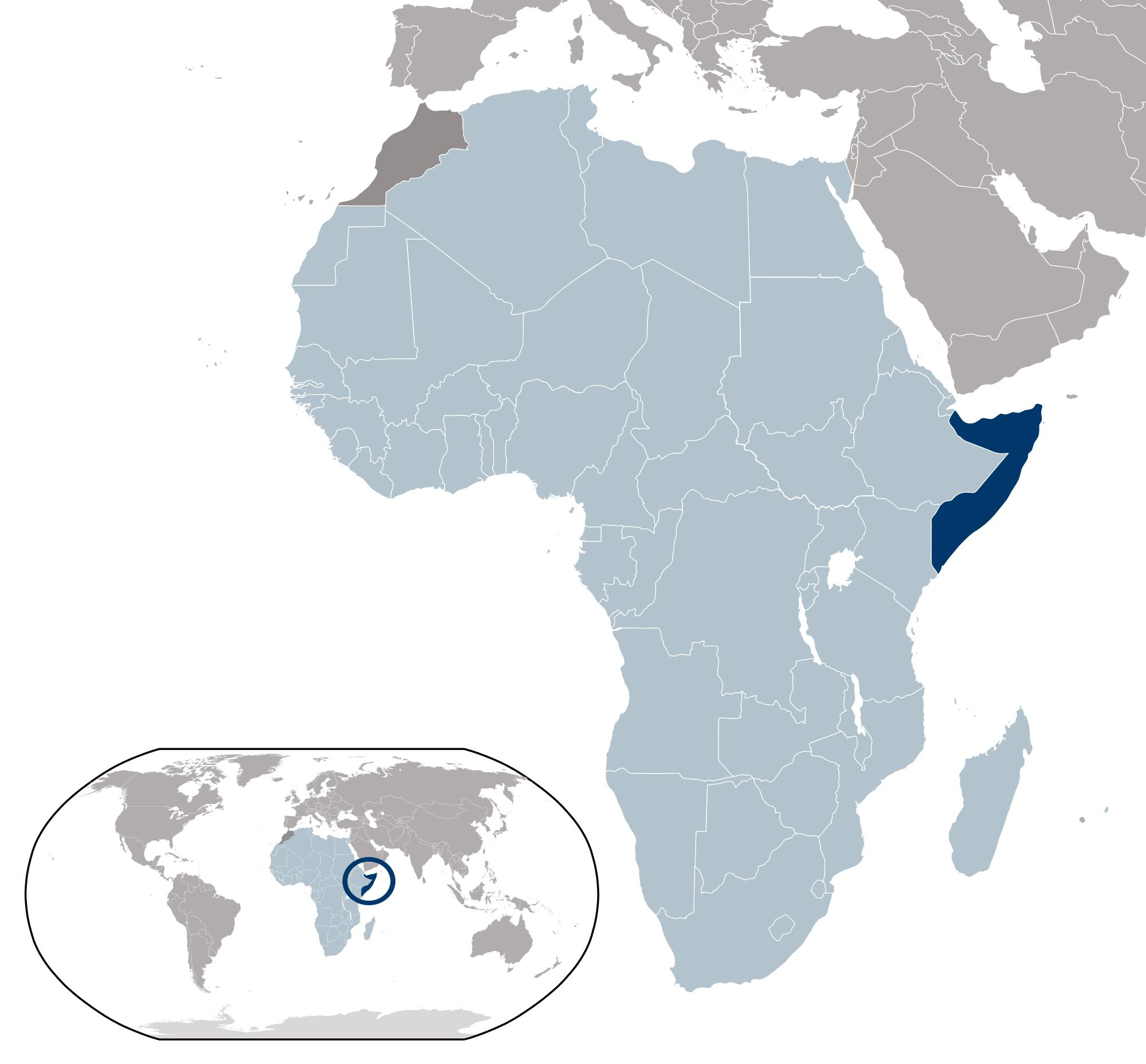 Large location map of Somalia | Somalia | Africa | Mapsland | Maps ...