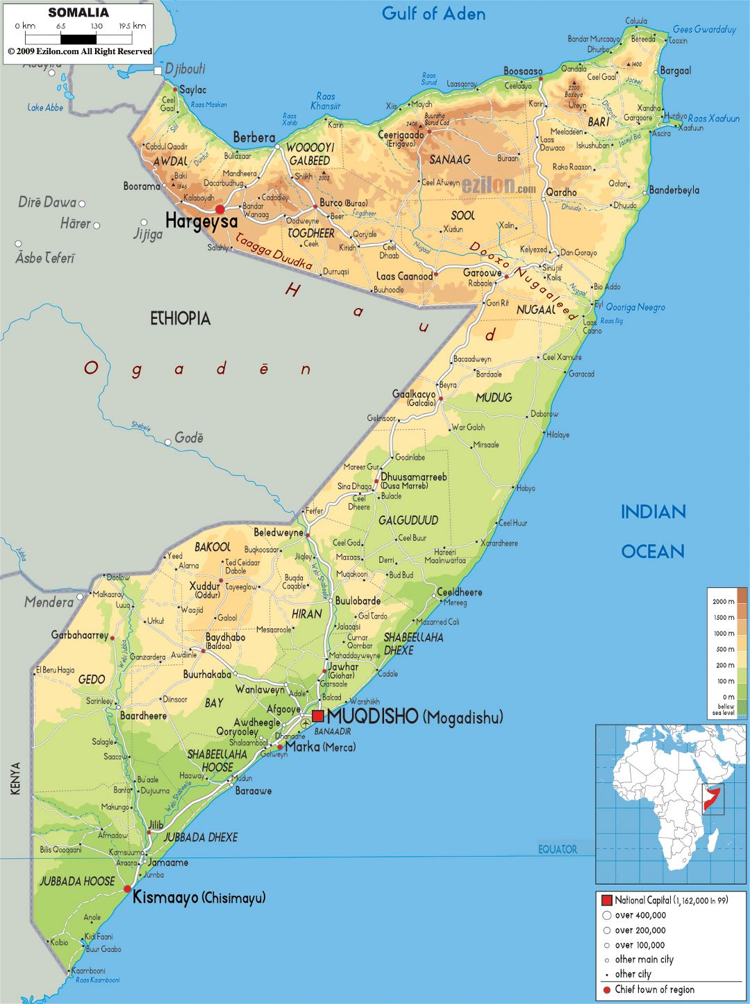 Large physical map of Somalia with roads, cities and airports