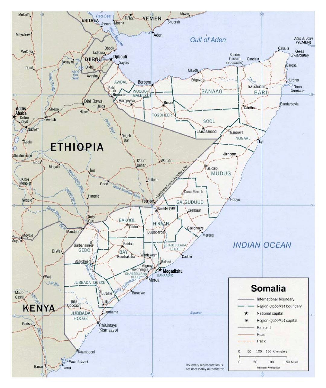 Large political and administrative map of Somalia with other marks