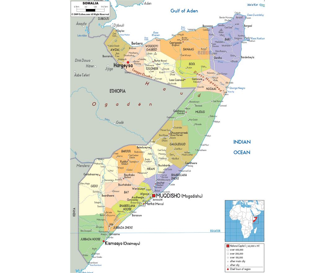 Large political and administrative map of Somalia with roads, cities and airports
