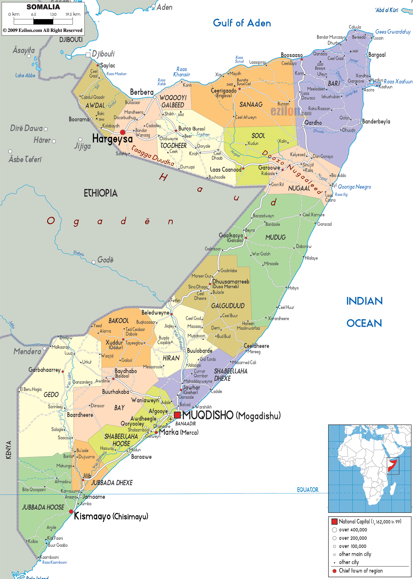 Large political and administrative map of somalia with roads large political and administrative map of somalia with roads cities and airports sciox Images