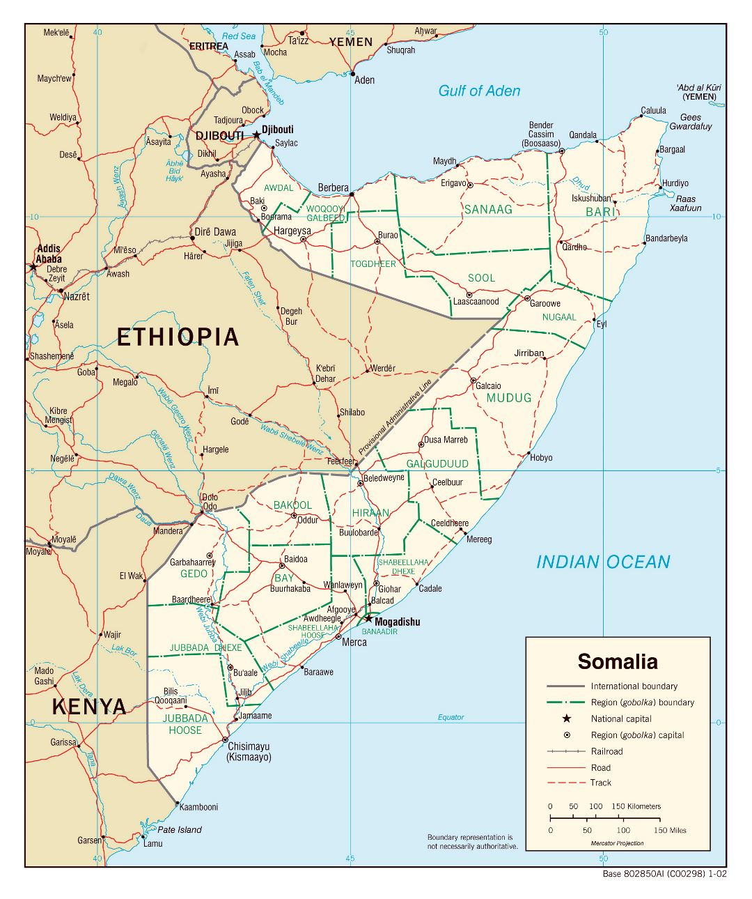 Large political and administrative map of Somalia with roads, railroads and major cities - 2002