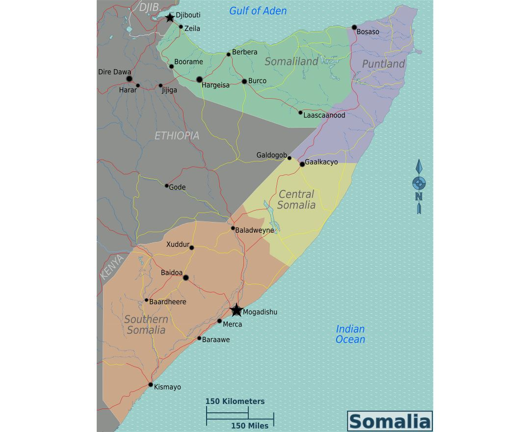 Large regions map of Somalia
