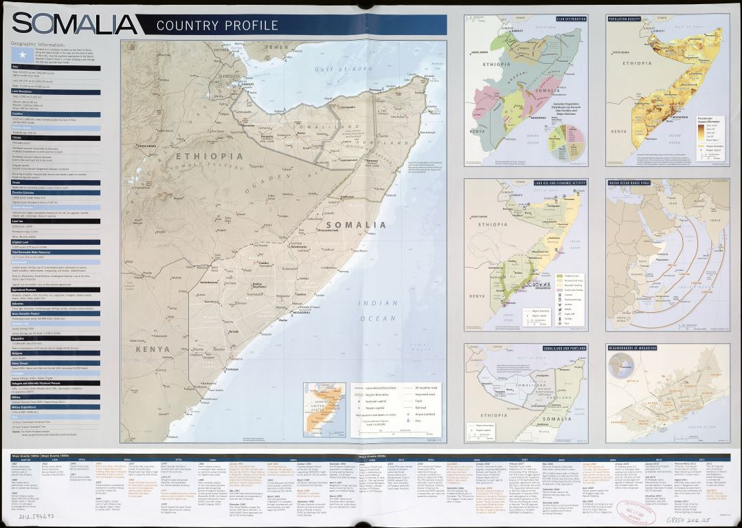 Large scale detailed Country Profile map of Somalia - 2012