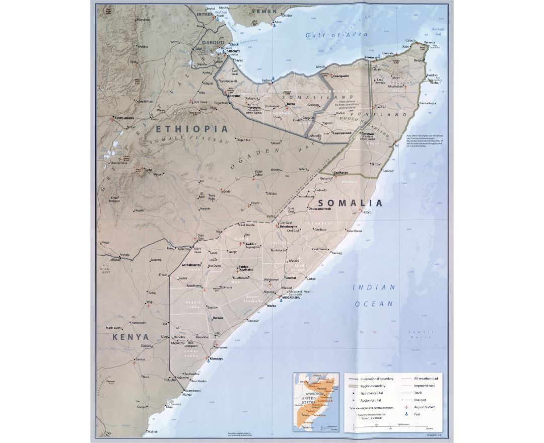 Large scale detailed political and administrative map of Somalia with relief, roads, railroads, cities, ports, airports and other marks - 2012