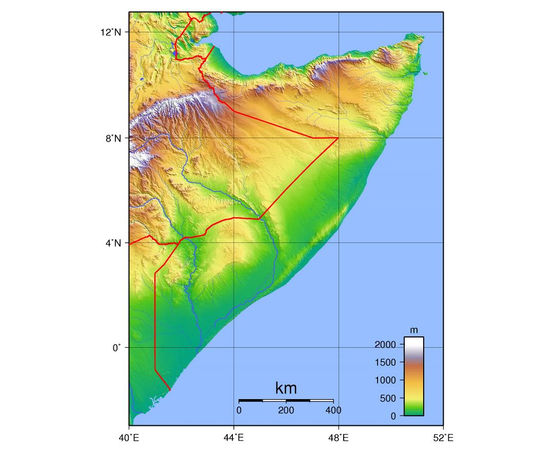 Large topographical map of Somalia