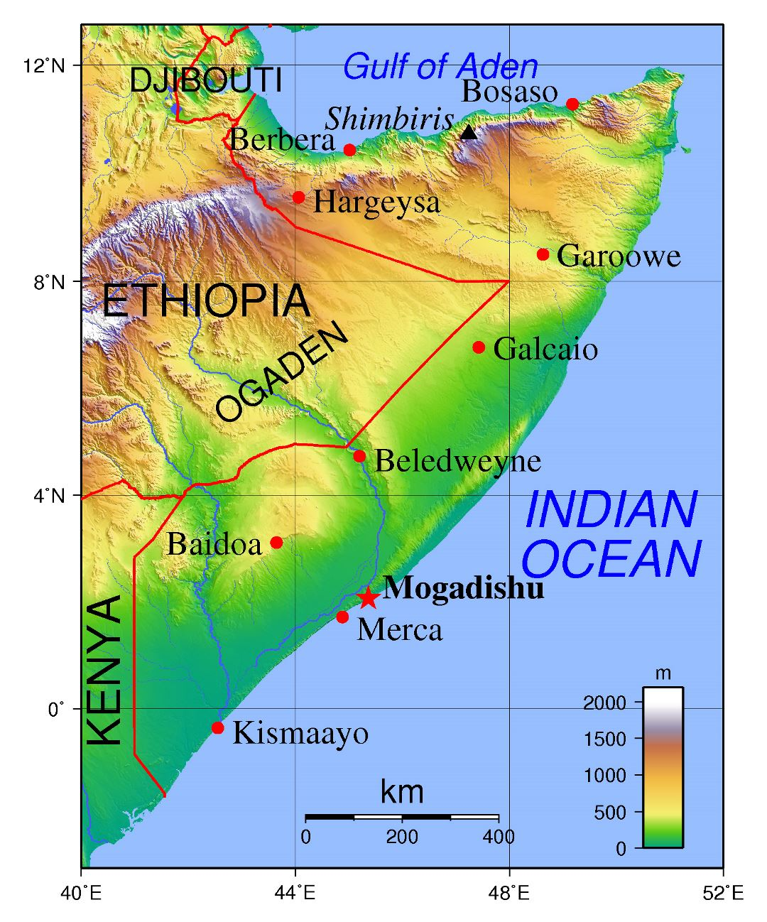 Large topographical map of Somalia with major cities